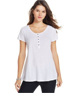 Style&o - Short-sleeve Henley Swing T-shirt