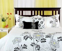 LJ Home Fashions - Cotton Embroidered Queen Duvet Cover Set