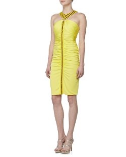 Versace - Ruched & Beaded Halter Dress