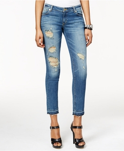 Michael Michael Kors - Izzy Ripped Cropped Vintage Wash Jeans