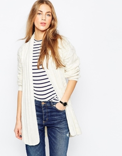 Asos  - Belted Cardigan In Cable Knit