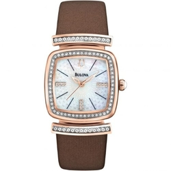 Bulova - Crystal Brown Leather Strap Watch