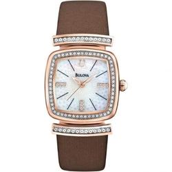 Bulova - Crystal Brown Leather Strap Watch