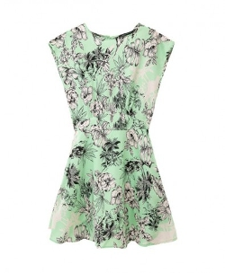 Chicnova - Print Short Sleeveless Chiffon Dress