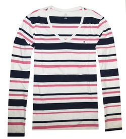 Tommy Hilfiger - V-Neck Stripe Tee