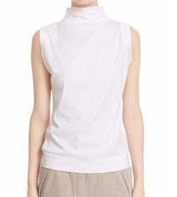 Eleventy  - Sleeveless Mock Neck Cotton Top