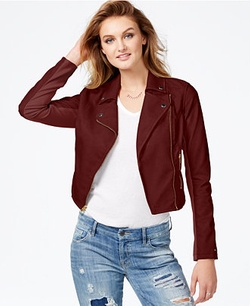 Guess - Faux-Leather Contrast Moto Jacket