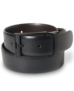 Perry Ellis  - Matte Black Buckle Leather Belt