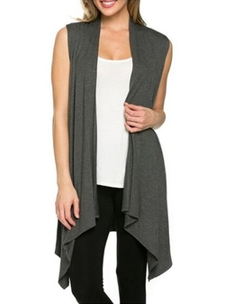 Ours - Open Front Draped Vest Cardigan
