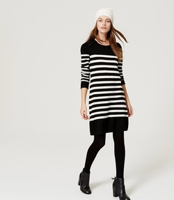 Loft - Striped Button Sweater Dress