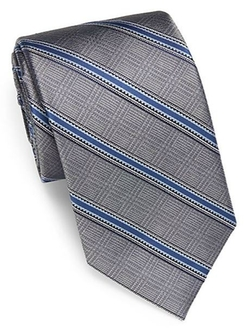 Saks Fifth Avenue BLACK  - Diagonal Striped Silk Tie