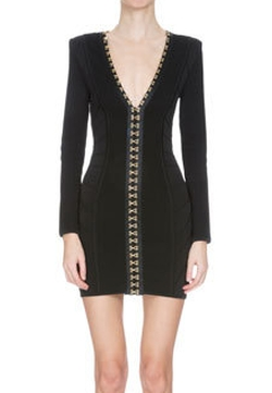 Balmain - V-Neck Hook-and-Eye Bandage Dress