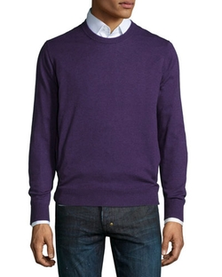 Neiman Marcus - Cotton-Blend Crewneck Sweater