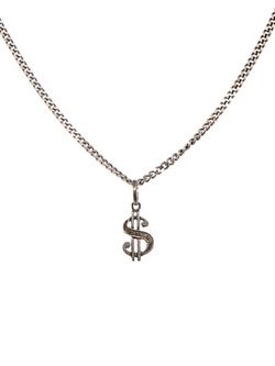 Saint Laurent - Dollar Sign Sterling-Silver Necklace