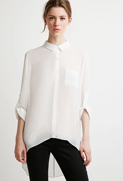 Forever 21 - Contemporary Sheer Crepe Pocket Shirt