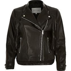 River Island - Leather-Look Fringed Biker Jacket