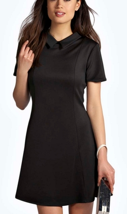 Boohoo Night  - Mollie Collar Seam Detail Fit And Flare Dress