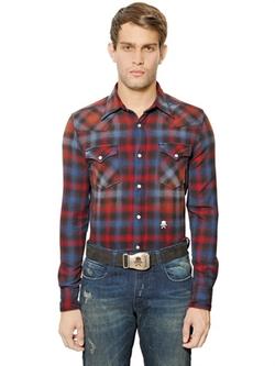 "Hydrogen  - ""Avvocato"" Cotton Flannel Western Shirt"