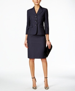 Le Suit - Three-Button Textured Skirt Suit