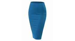 Doublju  - Womens Stretch Knit Midi Pencil Skirt