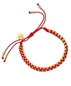 Blee Inara  - Macrame Diamond Pattern Braided Bracelet With Gold Beads