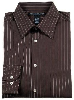 Metropolitan View  - Mens Brown Cotton Dress Shirt