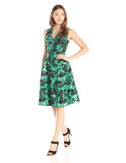 Kasper - Printed V Neck Fit And Flare Dress