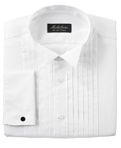 Michelsons of London  - Pleated Wing French Cuff Tuxedo Shirt