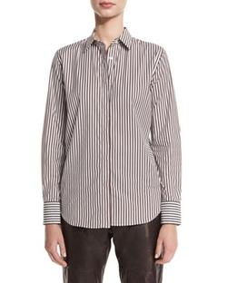 Brunello Cucinelli - Monili-Embellished Striped Shirt