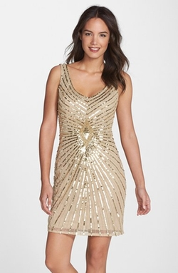 Aidan Mattox - Embellished Chiffon Sheath Dress