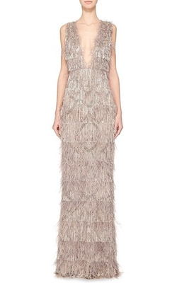Marchesa - Ostrich Feather V-Neck Gown