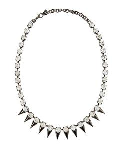 Jules Smith  - Silver Plated Crystal Spike Station Necklace