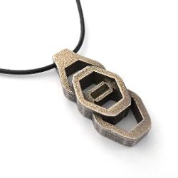 Loralyn Designs - Mens Steel and Bronze Tribal Pendant on Black Leather Necklace Chain