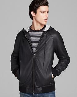 Marc By Marc Jacobs  - Leather Zip Hoodie Jacket