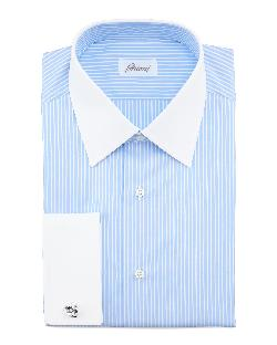Brioni  - Contrast-Collar Striped Dress Shirt, Blue