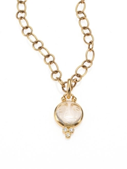 Temple St. Clair  - Celestial Rock Crystal Small Moonface Pendant