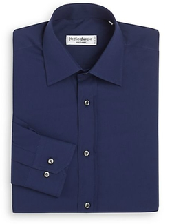 Yves Saint Laurent  - Regular-Fit Solid Cotton Dress Shirt