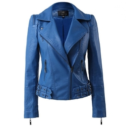 Ling Luo Fang - Zip Up Moto Biker Jacket
