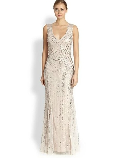 Aidan Mattox  - Sequin Tulle Sleeveless Gown