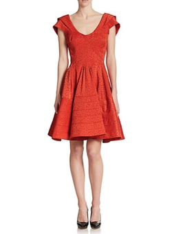 Zac Posen - Jacquared Fit & Flare Dress