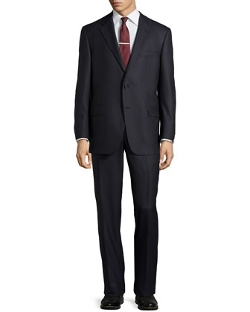 Hickey Freeman  - Dotted Pencil-Stripe Worsted Wool Suit