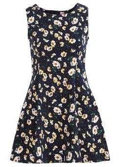 Romwe - Round Neck Sleeveless Flower Print Tank Dress