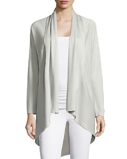 Neiman Marcus Cashmere Collection   - Cashmere Ribbed Open Draped Cardigan