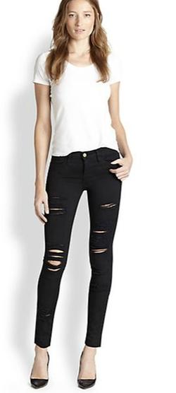 Frame - Le Color Rip Skinny Jeans