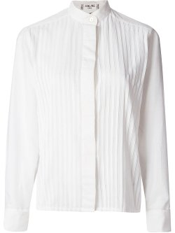 Céline Vintage  - Mandarin Pleated Shirt