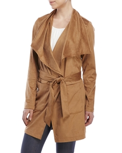 Vince Camuto - Faux Suede Belted Trench Coat