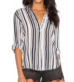 Stateside - Stripe Veil Button Up Top