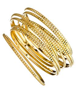 Max & Chloe - Blu Bijoux Gold 10 Piece Studded Bangle Set