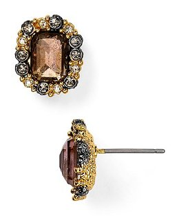 Alexis Bittar  - Emerald Cut Pink Tourmaline & Pyrite Stud Earrings