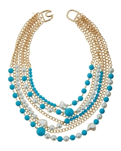 Kenneth Jay Lane - Multi-Row & Pearly Bead Necklace